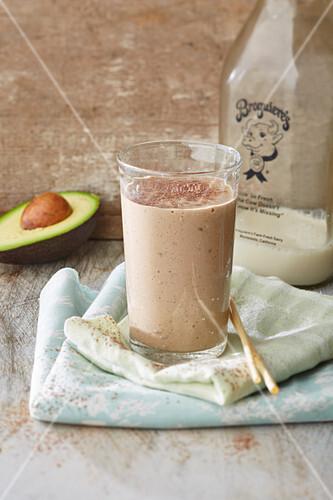 A chocolate and avocado smoothie