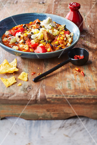 Mexican hot pot with pork, beans and corn