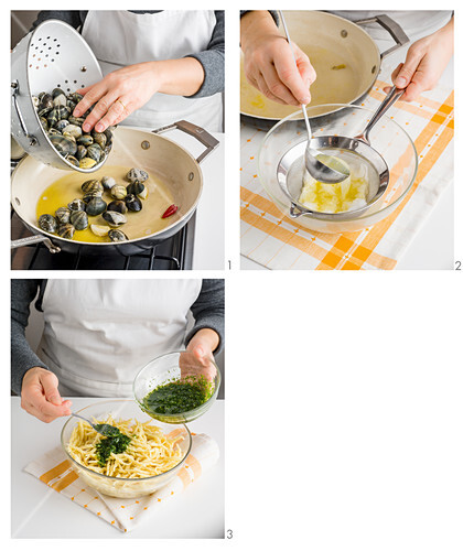 How to make Trofi (Italian pasta) with basil pesto and clams