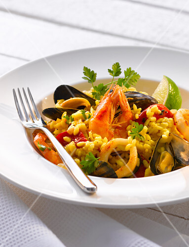 Seafood risotto with lime