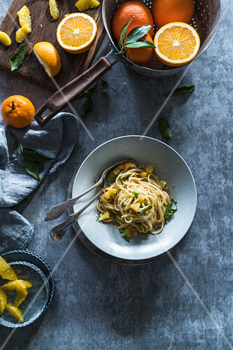 Pasta with orange and basil sauce (top view)