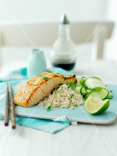 Salmon teriyaki with rice