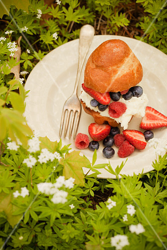 Ricotta Cheese and Fresh Fruit Brioche Sandwich
