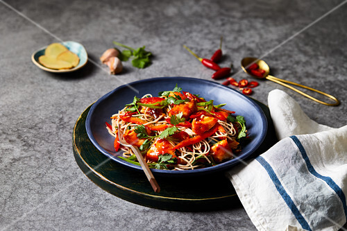 Pasta salad with salmon fillets and chilli (Japan)