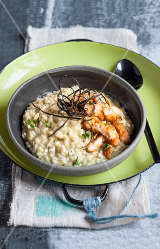 Risotto with aubergine, crispy veal tripe and ginger