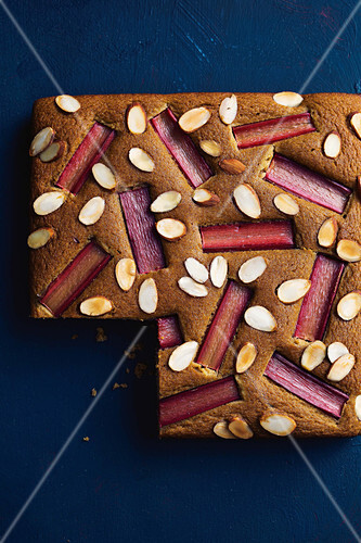 Rhubarb and almond olive oil cake
