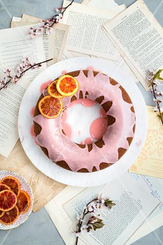 Blood orange and sour cream cake with caramelized orange slices