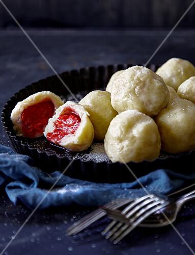 Strawberry dumplings made with potato dough
