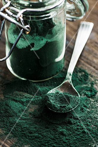 Spirulina on the spoon