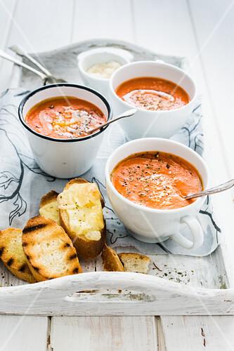 Cold tomato soup with oregano, pecorino and toasted bread
