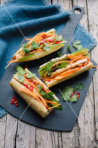 Banh Mi sandwich with breaded chicken escalope