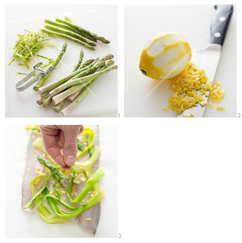 Wolfsbarsch mit grünem Spargel, Zitrone und Safran zubereiten