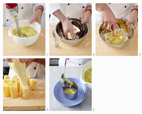 Preparing Paccheri Pasta Stuffed with Tofu
