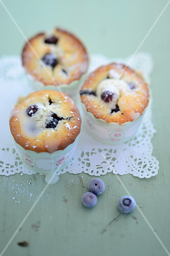 Lemon and blueberry cupcakes made with buttermilk