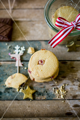 Stack of festive turkish delight biscuits with reindeer decoration as a gift