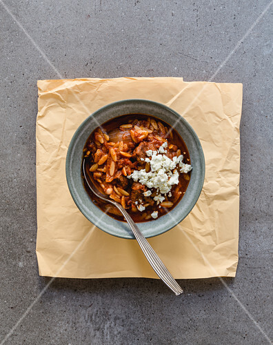 Juvetsi – Greek lamb and pasta stew with feta cheese