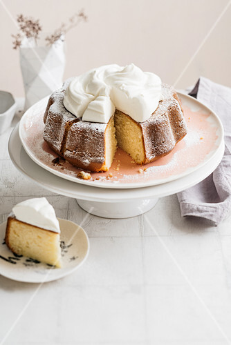 Bundt Cake with whipped cream