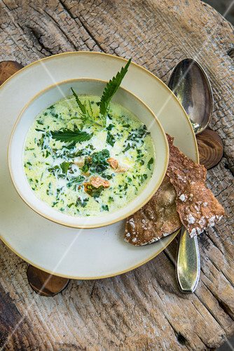 Wild herb soup with Schüttelbrot (crispy unleavened bread from South Tyrol)