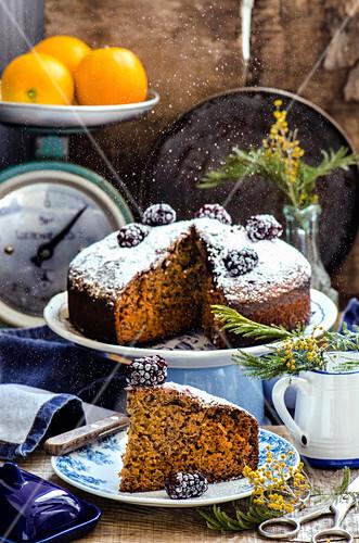 Carrot cake with sugar powder