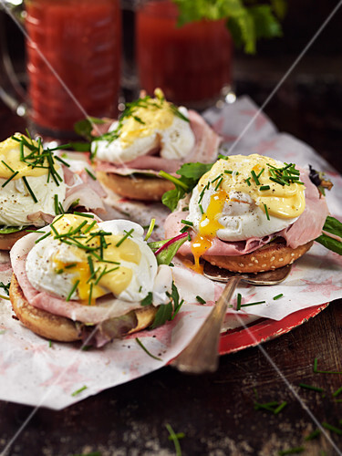Open faced ham sandwiches with Eggs Benedict and Bloody Marys for brunch