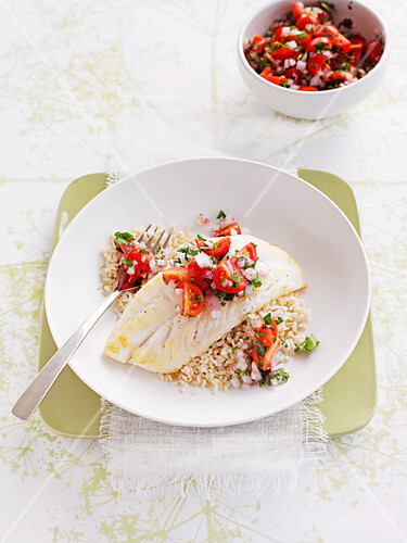 Grilled perch with brown rice and tomato salsa