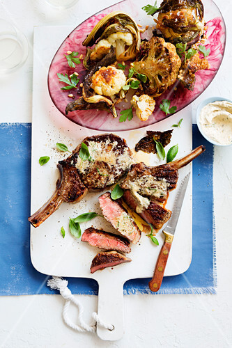 Rib-eye with anchovy butter and roasted cauliflower