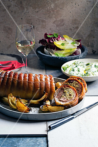 Stuffed lamb saddle with tzatziki