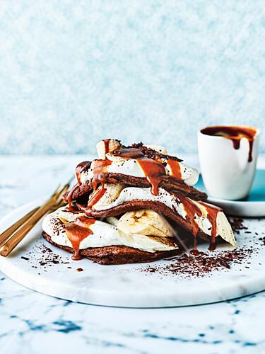 Schokoladen-Banoffee-Pancakes