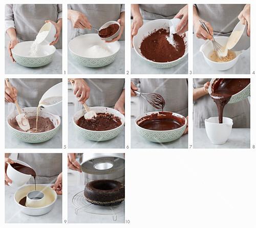 A vegan chocolate cake being made