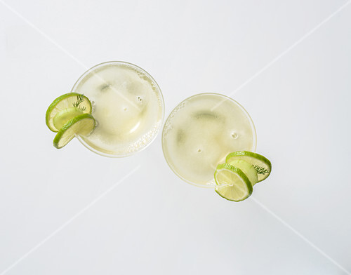 Lime cocktail with cucumber