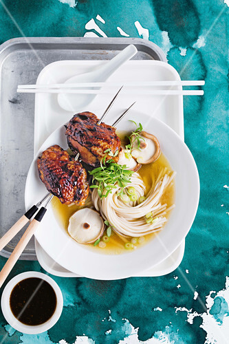 Teriyaki chicken noodle soup