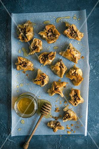 Walnut and pecan nut home made baklava, drizzeled with honey