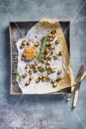 Fried brussels sprouts with garlic and rosemary