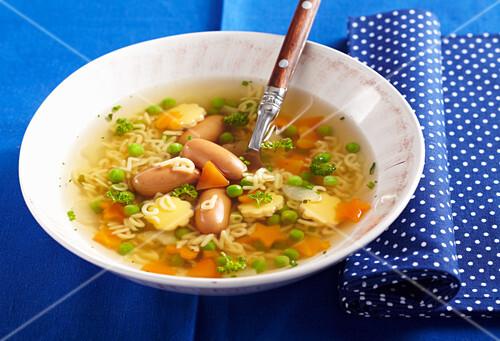Alphabet soup with mini sausages
