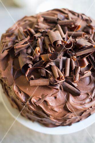 A chocolate cream cake (top view)