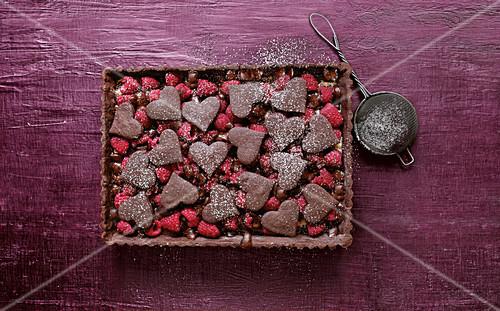 Bitter chocolate raspberry pie