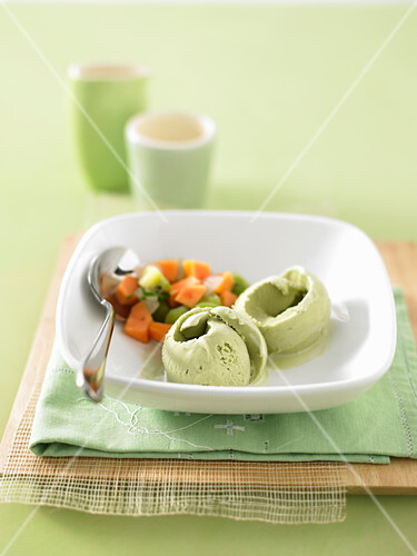 Green tea Ice cream with fresh fruit