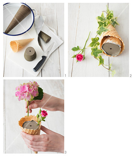 Instructions for arranging roses and hortensias in ice cream cones