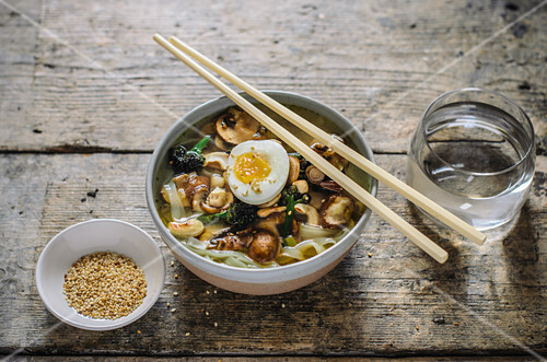 Noodle soup with mushrooms and egg (Asia)