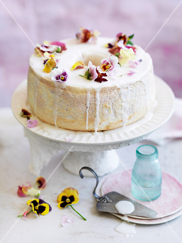 Orange Blossom and Raspberry Angel Food Cake