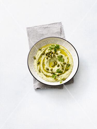 Edamame hummus with pistachios