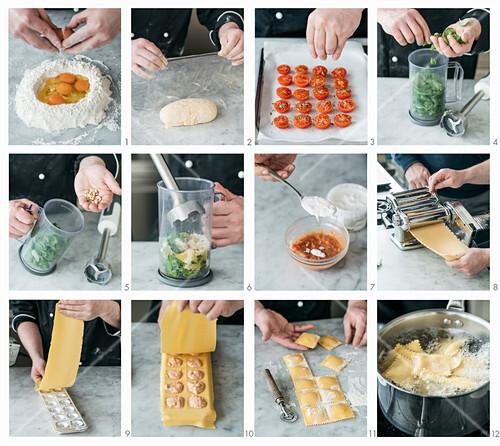 How to make burrata ravioli on basil pesto with cherry tomato confit