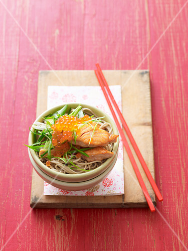 Salmon in miso with soba noodles
