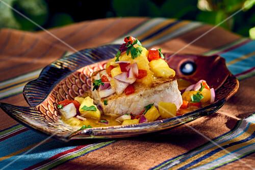 Swordfish with pineapple salsa