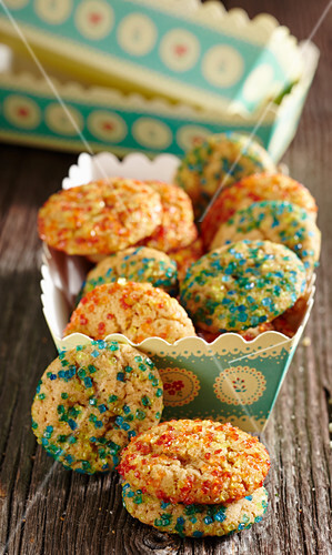 Christmas biscuits with coloured sugar sprinkles