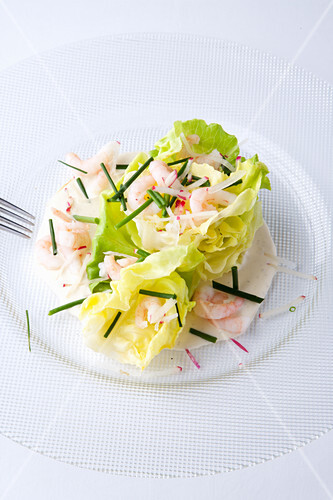 American lettuce with shrimps