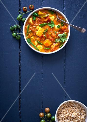 Tomato, kingklip and sweet potato curry