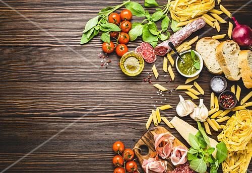 An arrangement of Italian food (seen from above)