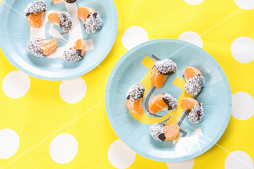 Mandarins with a chocolate and coconut glaze