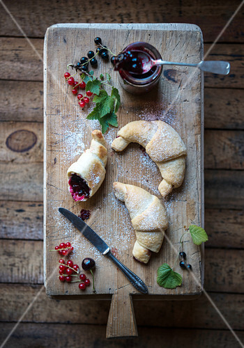 Vegan croissants filled with redcurrant and sour cherry jam